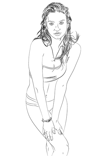 uncoloured portrait of michelle vawer